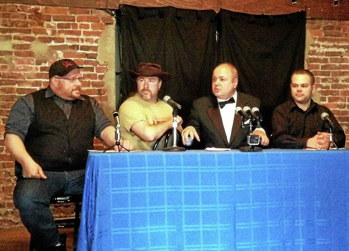 """(left to right) Keith Paul, Jay Roberts, J. Timothy Quirk and Jason Truby held a press conference Thursday afternoon to announce the creation of """"Nutmeg Chatter"""" a new local comedy show. The first three episodes which will be filmed live at Downtown Cafe."""