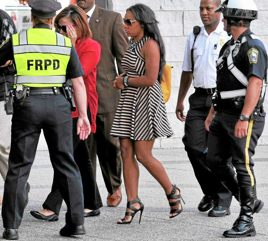 Shayanna Jenkins, fiancee of former New England Patriots player Aaron Hernandez, arrives at superior court on Sept. 6. Photo: Josh Reynolds — The Associated Press  / FR25426 AP