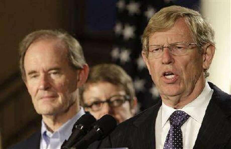 Attorney Theodore Olson, right, speaks next to attorney David Boies at a news conference in San Francisco, Wednesday, Aug. 4, 2010. A federal judge overturned California's same-sex marriage ban Wednesday in a landmark case that could eventually land before the U.S. Supreme Court to decide if gays have a constitutional right to marry in America. Photo: ASSOCIATED PRESS / AP