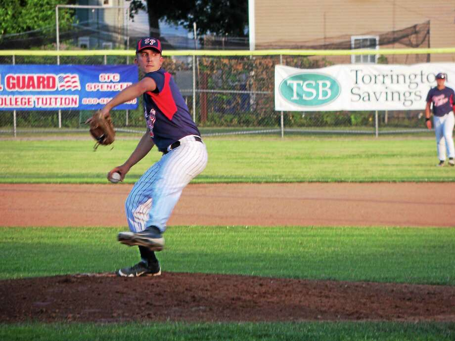 Torrington Sports Palace's Adam Fuoco gave up just two hits in five innings in Torrington's 11-1 rout over Waterbury Monday night at Fuessenich Park. Photo: Peter Wallace — Register Citizen