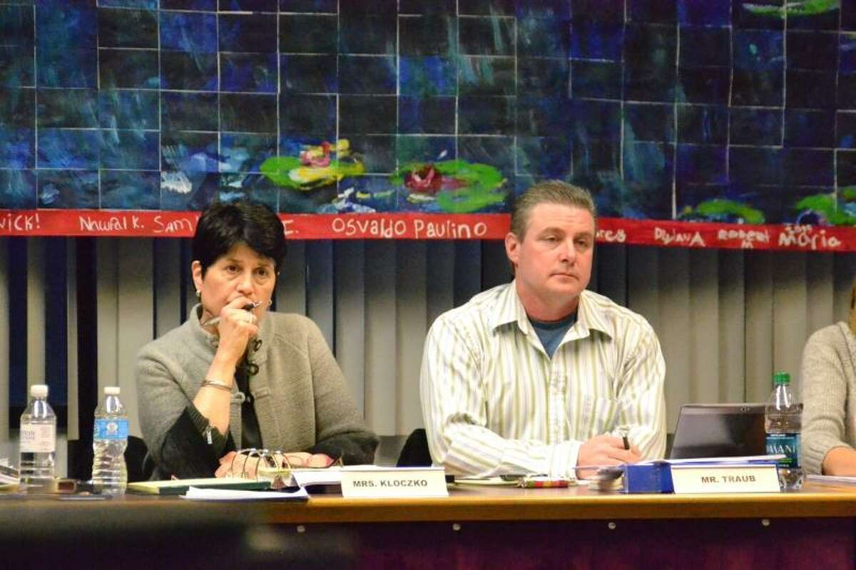 Register Citizen File Photo -- Superintendent Cheryl Kloczko and Board of Education Kenneth Traub at a March 2013 BOE meeting.