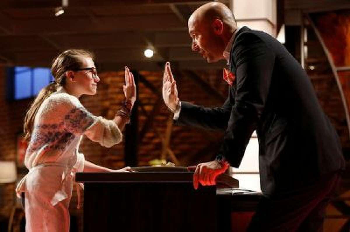 Contestant Sofia with Joe Bastianich during 'MasterChef Junior' televised on Friday, Sept. 27, 2013.