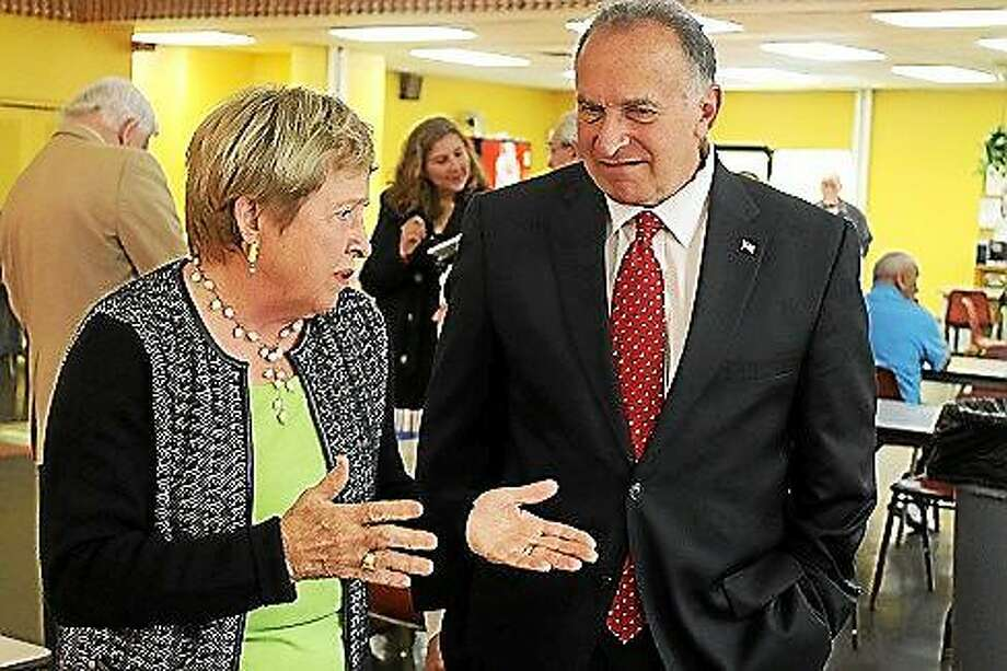 5th District congressional candidate Mark Greenberg appears with former Congresswoman Nancy Johnson in New Britain earlier this month. Photo: Matt DeRienzo/CT News Junkie