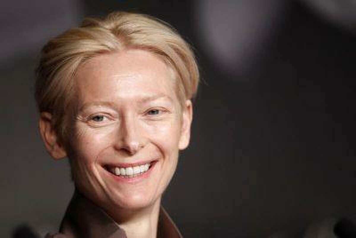 """Cast member Tilda Swinton attends a news conference for the film """"Moonrise Kingdom"""", by director Wes Anderson, in competition at the 65th Cannes Film Festival, May 16, 2012. REUTERS/Jean-Paul Pelissier"""