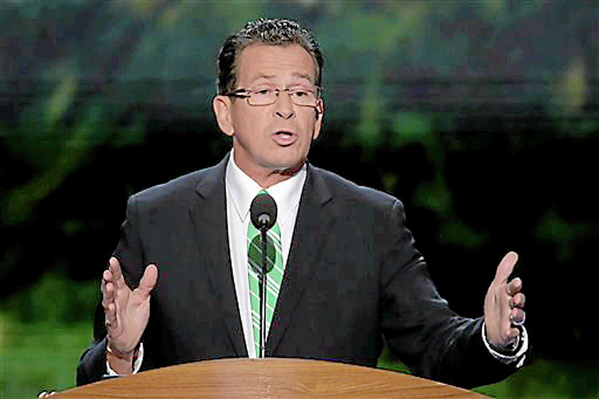 Connecticut Gov. Dannel Malloy addresses the Democratic National Convention in Charlotte, N.C., on Wednesday, Sept. 5, 2012. (AP Photo/J. Scott Applewhite)