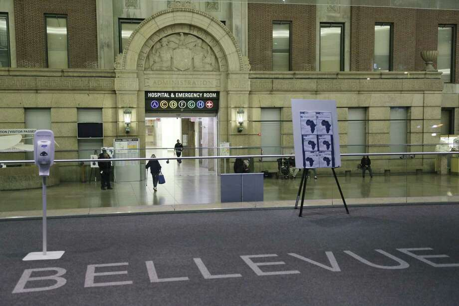 The lobby of Bellevue Hospital is seen, Friday, Oct. 24, 2014, in New York. Dr. Craig Spencer, a resident of New York City and a member of Doctors Without Borders, was admitted to Bellevue on Thursday and has been diagnosed with Ebola. Photo: (Mark Lennihan — The Associated Press) / AP
