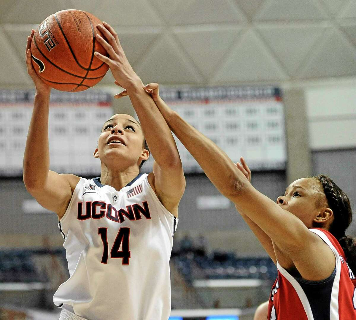 UConn's Bria Hartley will have a large contingent of fans make the ferry ride across Long Island Sound to see the Huskies play Temple Saturday at the Webster Bank Arena in Bridgeport.