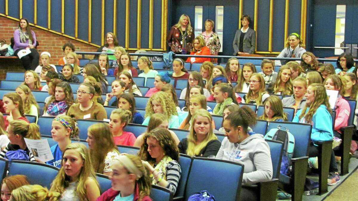 A crowd of area girls sits at UConn Torrington Friday during the United Way of Northwest Connecticut's Girls Summit.