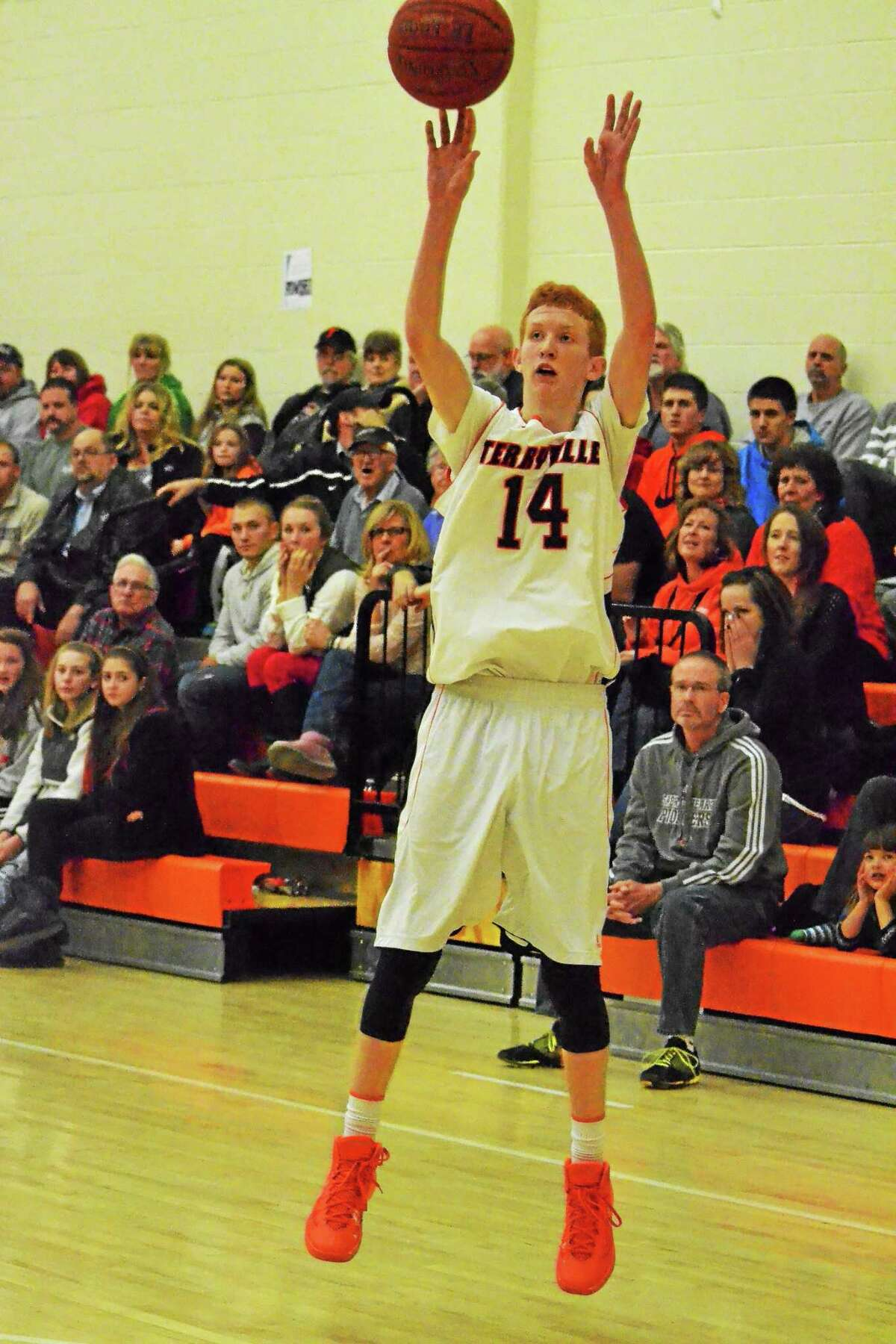 Terryville's Shea Tracy sinks one of his seven three-pointers in the Kangaroos 70-45 win over Lewis Mills. Tracy led all scorers with 24 points.