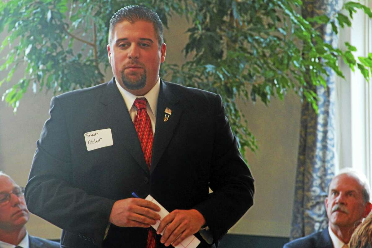Brian Ohler, the Republican candidate for Connecticut's 64th Assembly District, speaks during a legislative forum at Prime Time House Tuesday in Torrington.