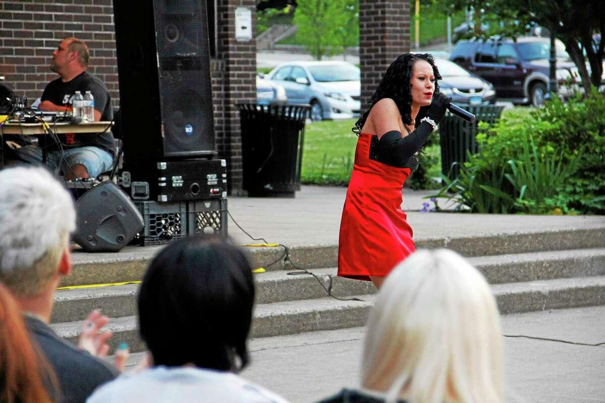 Jasmon LaTour sings during the Northwest Idol competition on Saturday, June 28, 2014, at Coe Memorial Park in Torrington. Esteban L. Hernandez Register Citizen