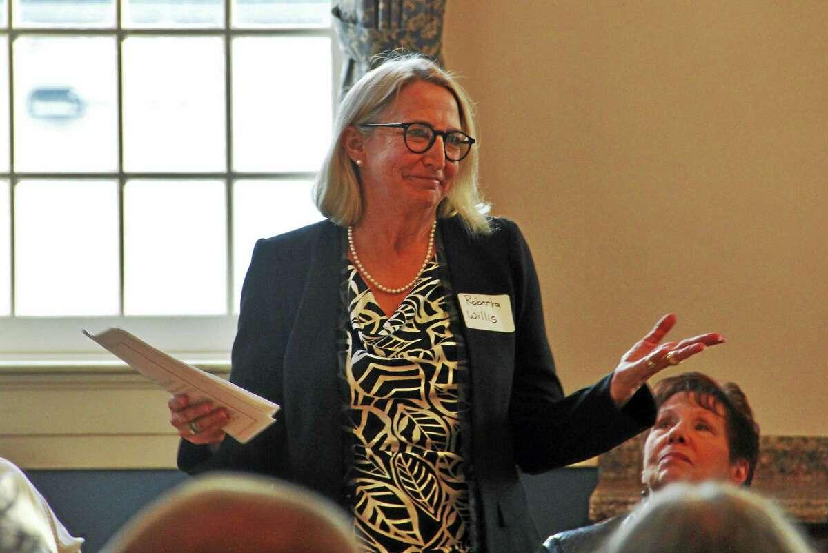 State Rep. Roberta Willis, D-64, speaks during a legislative forum at Prime Time House Tuesday in Torrington.