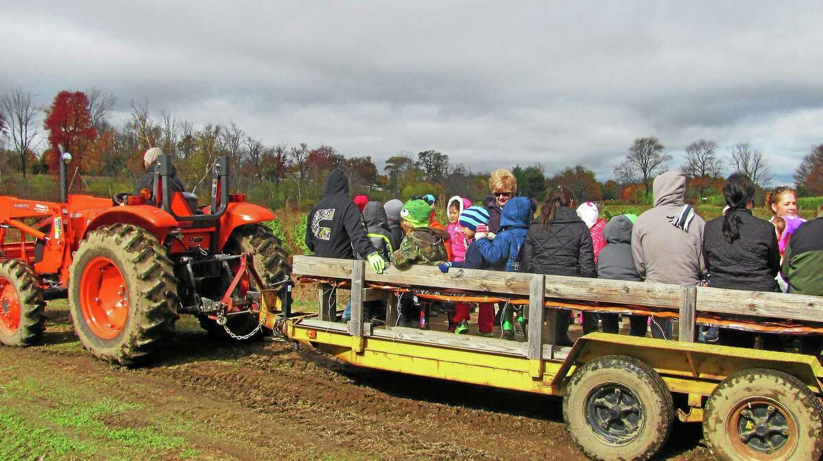 A group takes a tractor ride as part of the fall festivities at the Ruwet Farm in Torrington Friday.