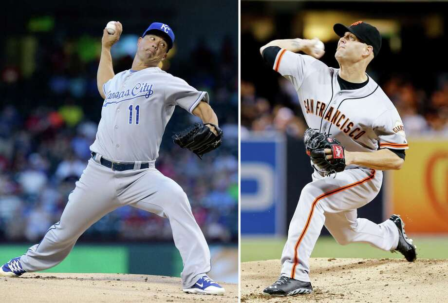 Jeremy Guthrie, left, will start for the Kansas City Royals in Game 3 and oppose the San Francisco Giants' Tim Hudson. Photo: Don Boomer — The Associated Press File Photo  / AP