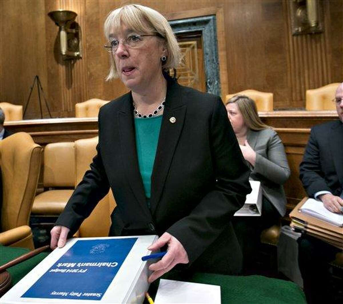 FILE - In this March 14, 2013 file photo, Senate Budget Committee Chair Sen. Patty Murray, D-Wash. is seen on Capitol Hill in Washington. Democrats controlling the Senate moved on Friday toward approving their first budget in four years, promising another, almost $1 trillion round of tax increases on top of more than $600 billion in higher taxes on the wealthy enacted in January. (AP Photo/J. Scott Applewhite, File)