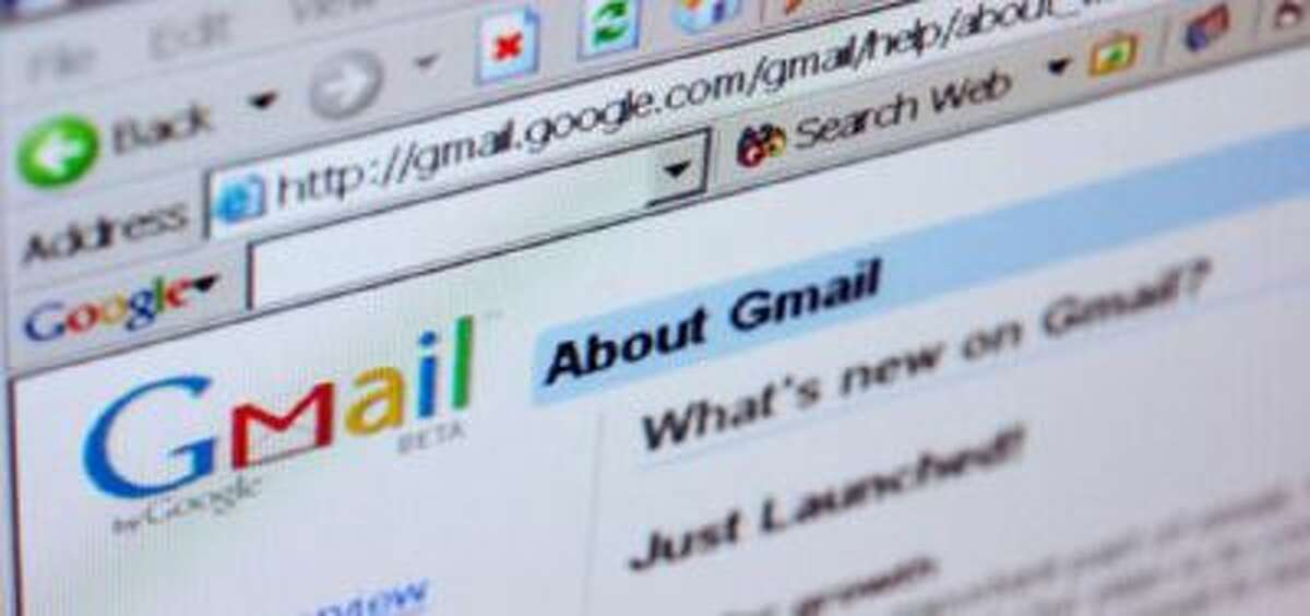 The Gmail logo is pictured on the top of a Gmail.com welcome page.