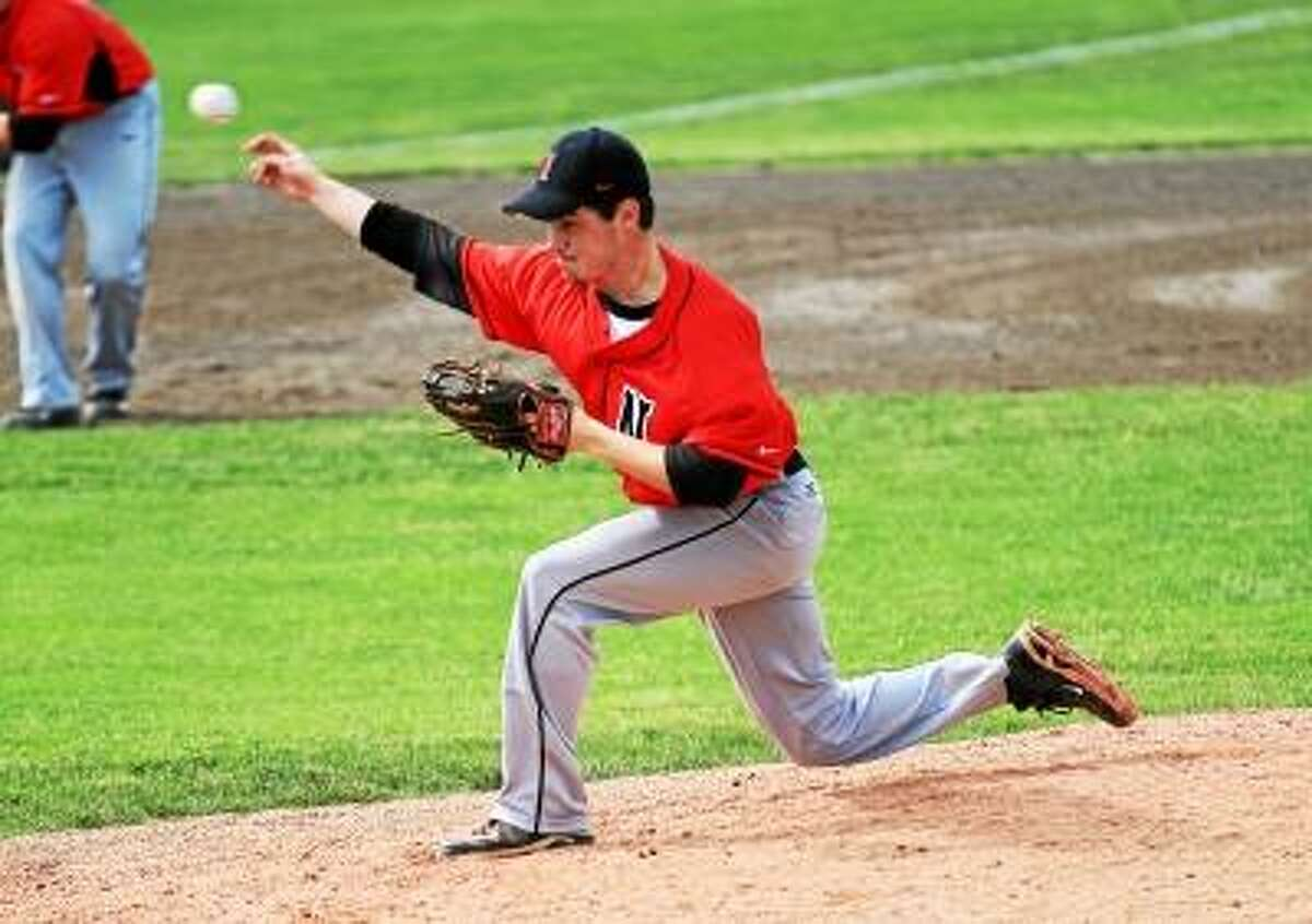 Marianne Killackey/Special to Register Citizen Northwestern's Zach August went all nine innings for the Highlanders, allowing two runs in the loss.
