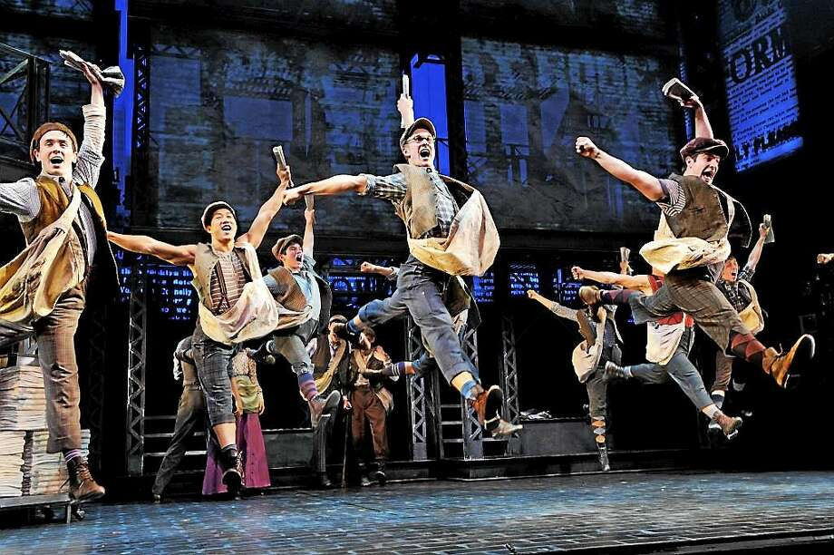 "Photo by Deen Van Meer The cast of ""Newsies"" dances and sings their way into your heart at the Waterbury Palace Theater for a short engagement this weekend, Oct. 23-25. Photo: Journal Register Co. / ©2012 photographer Deen van Meer, photographer should be credited at all times"