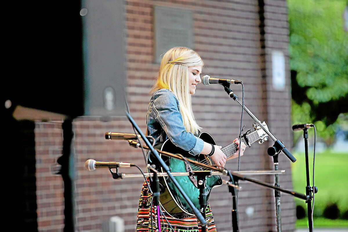 Sarah Barrios performed in Coe Memorial Park as part of their Summer Concert Series, her biggest show to date.