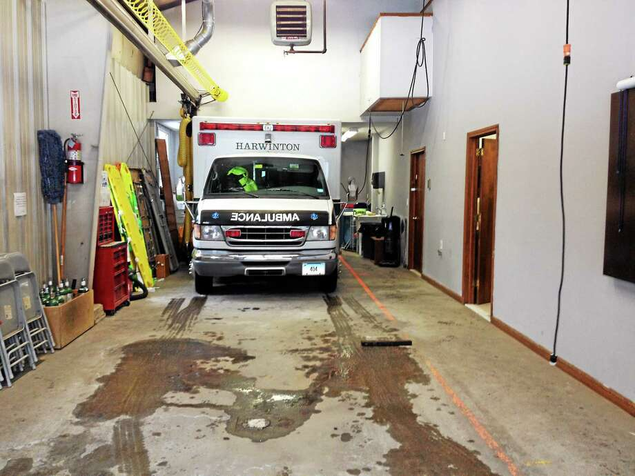 The current ambulance bay at the Harwinton firehouse on Route 4. Photo: Photos By Kate Hartman — Register Citizen