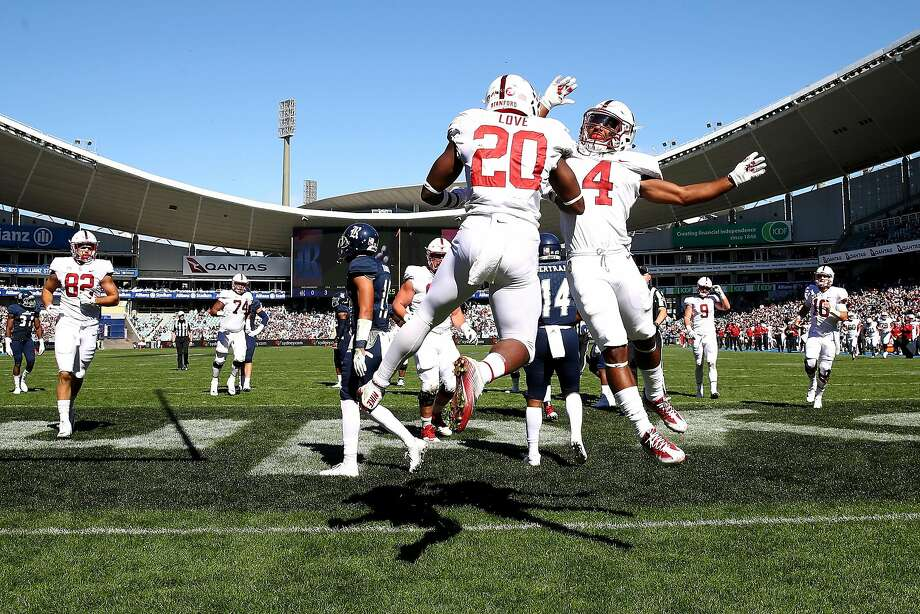 Bryce Love and Jay Tyler of Stanford celebrate Love scoring a touchdown during the College Football Sydney Cup match between Stanford University and Rice University at Allianz Stadium on August 27, 2017 in Sydney, Australia. Photo: Mark Kolbe, Getty Images
