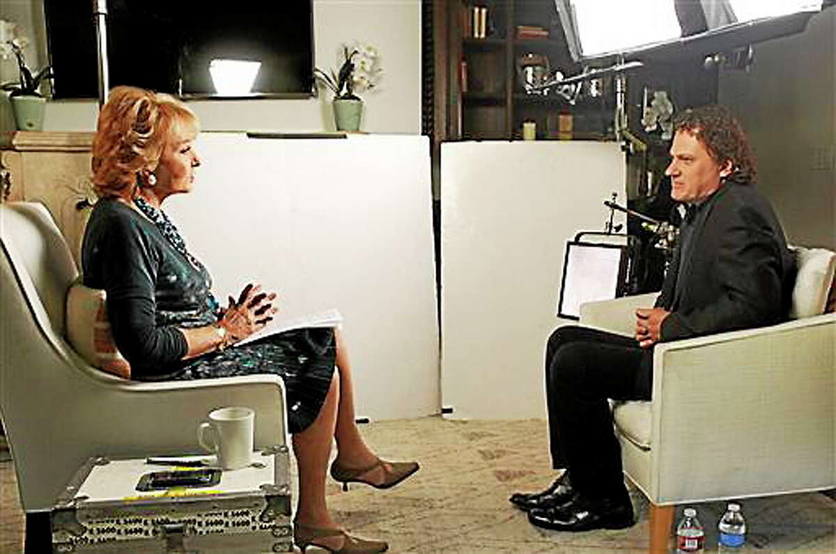 """This June 22, 2014 photo provided by ABC shows Barbara Walters, left, during an interview in Los Angeles with Peter Rodger, the father of Elliot Rodger, the 22 year old who killed six people, injured 13, before taking his own life near the campus of the University of California, on May 23, in Santa Barbara, Calif. The interview will air on a special edition of """"20/20"""" airing Friday, June 27, at 10 pm ET."""