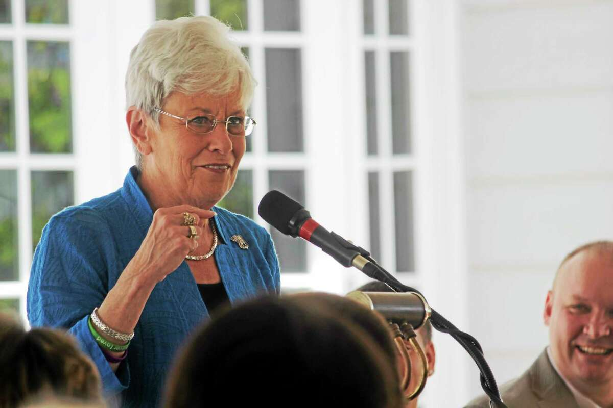 Lt. Gov. Nancy Wyman speaks during the Connecticut Junior Republic's 2014 commencement ceremony in Litchfield Friday.