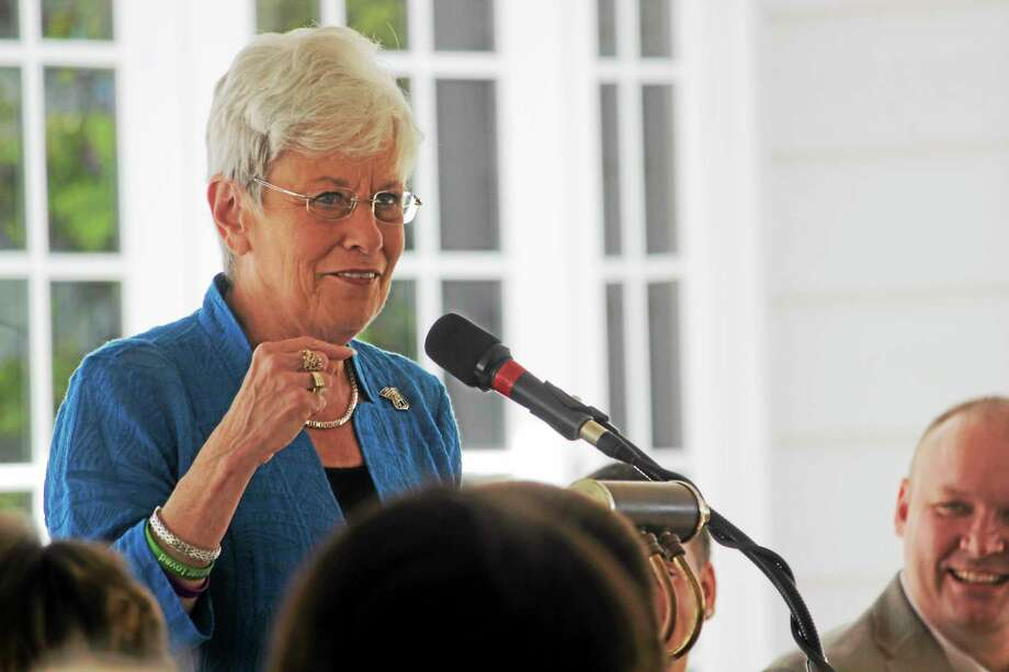 Lt. Gov. Nancy Wyman speaks during the Connecticut Junior Republic's 2014 commencement ceremony in Litchfield Friday. Photo: Shako Liu — The Register Citizen
