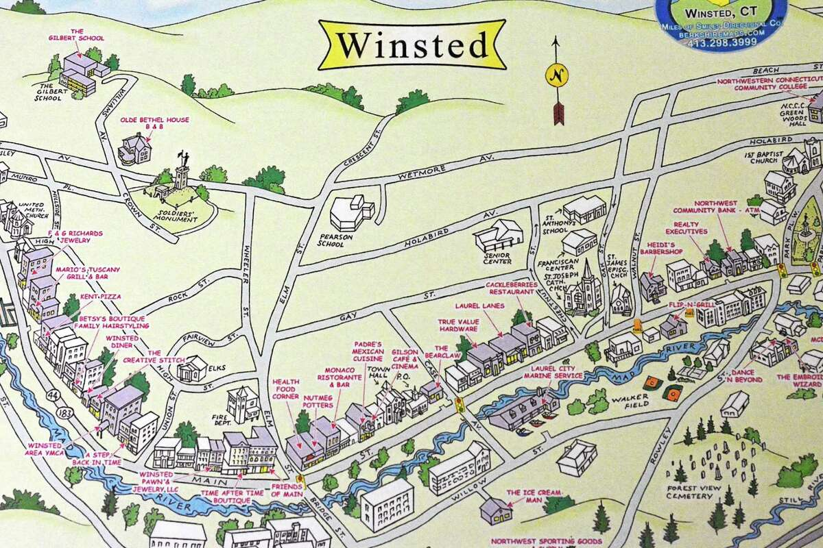 A draft of a map being created by the Economic Development Commission detailing Winchester's businesses and attractions.