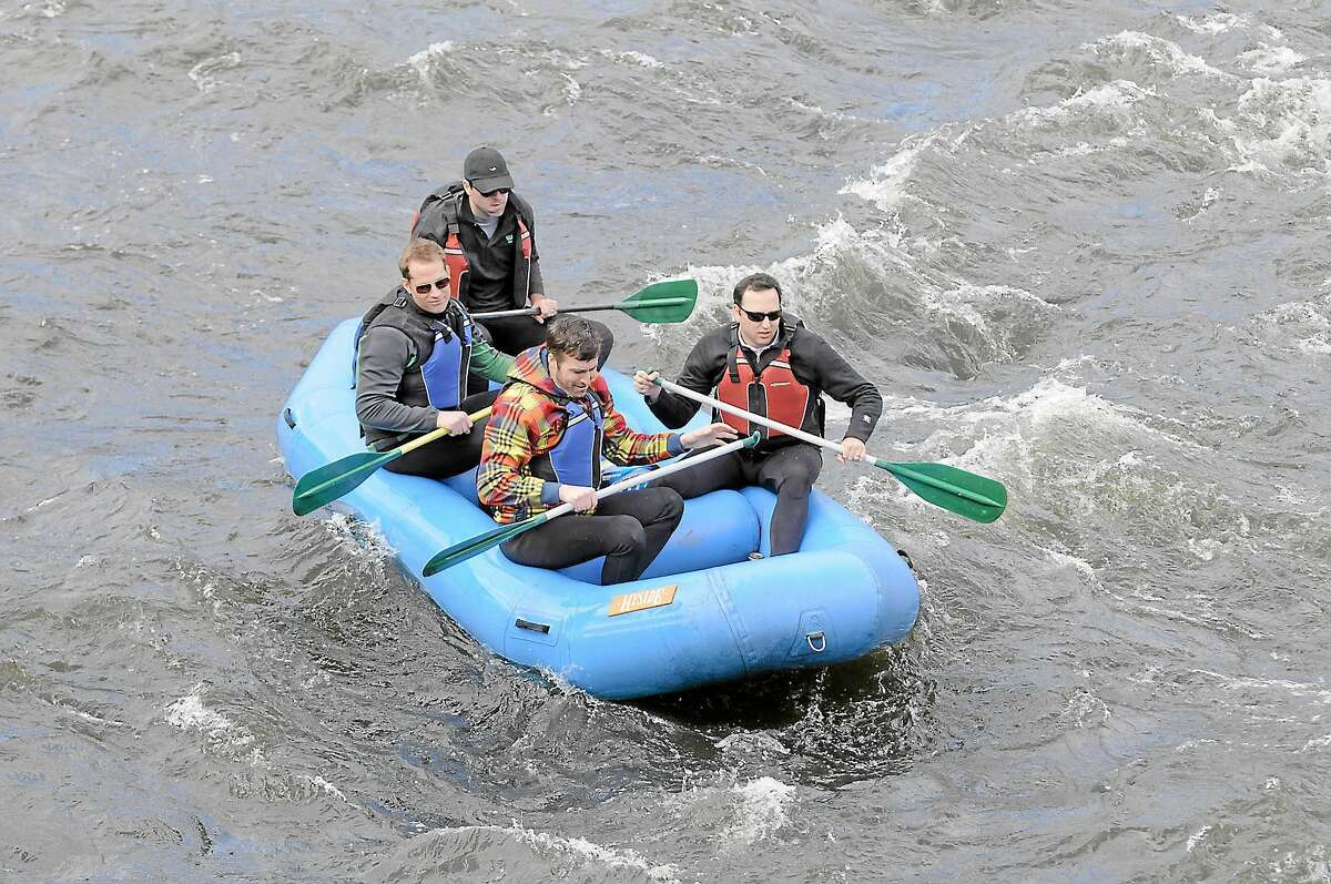 Rafters on the Housatonic River in April 2013 near the covered bridge in West Cornwall.