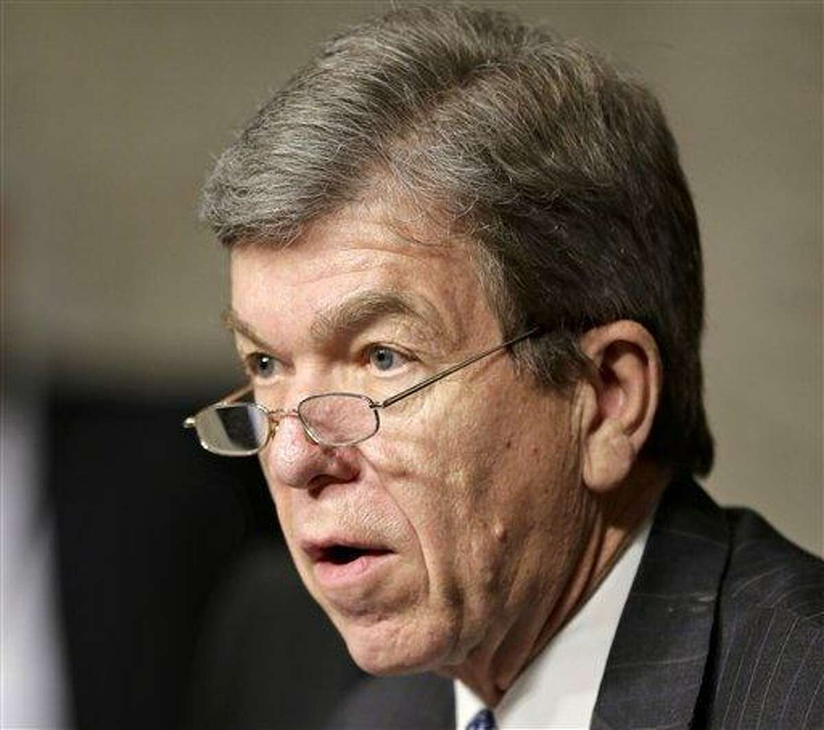 FILE - In this Jan. 31, 2013 file photo, Sen. Roy Blunt, R-Mo. speaks on Capitol Hill in Washington. The Senate pressed ahead Wednesday on a huge, bipartisan spending bill aimed at keeping the government running through September and ruling out the chance of a government shutdown later this month. Blunt said he's been promised a vote on an amendment eagerly sought by the meatpacking and poultry industries that would offer them relief from food inspector furloughs that threaten to intermittently shutter plants. (AP Photo/J. Scott Applewhite, File)