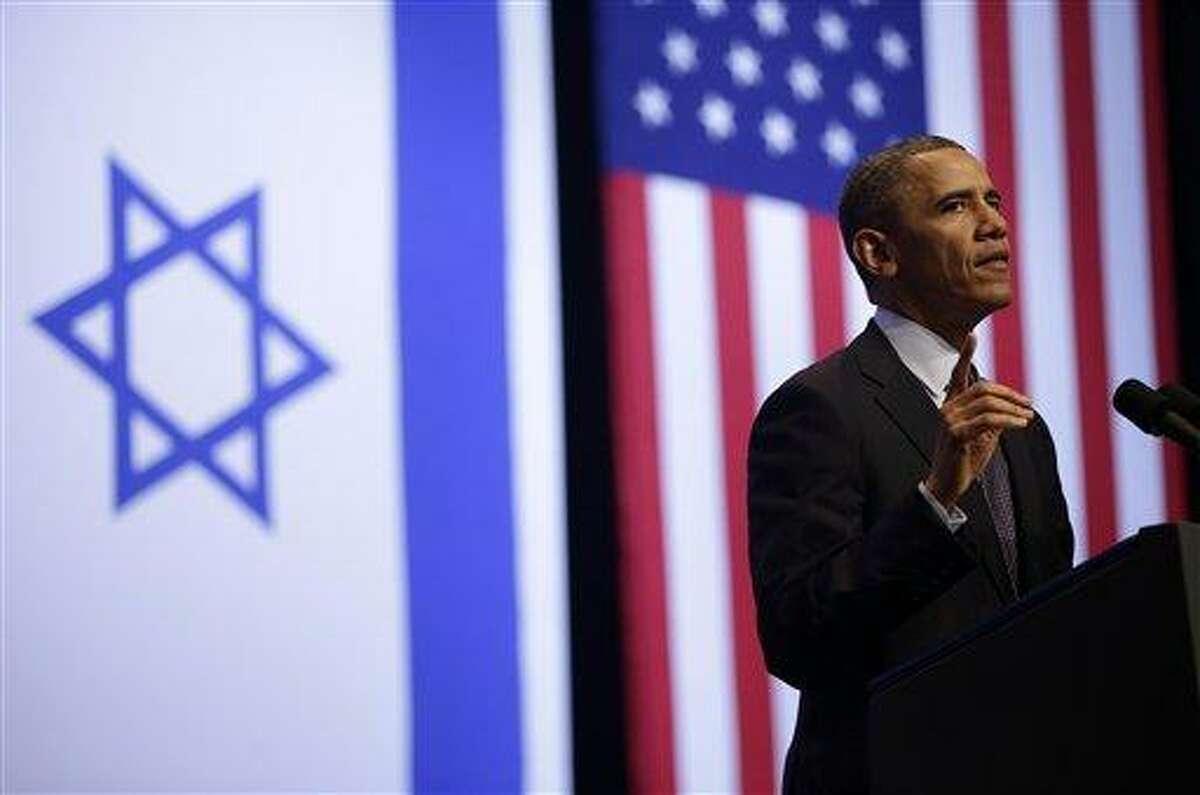 President Barack Obama gestures during his speech at the Jerusalem Convention Center in Jerusalem, Israel, Thursday, March 21, 2013, (AP Photo/Pablo Martinez Monsivais)