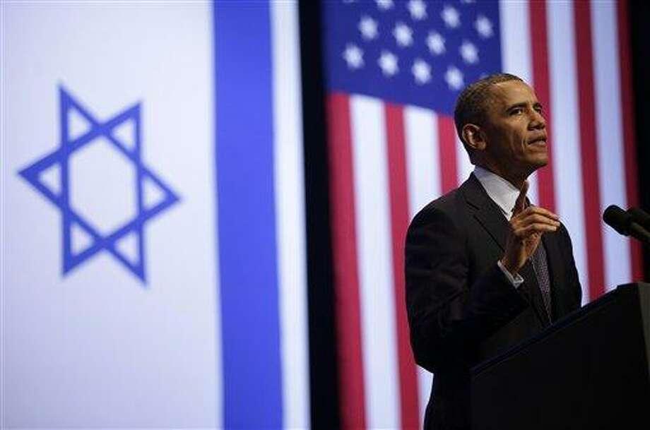 President Barack Obama gestures during his speech at the Jerusalem Convention Center in Jerusalem, Israel, Thursday, March 21, 2013, (AP Photo/Pablo Martinez Monsivais) Photo: AP / AP