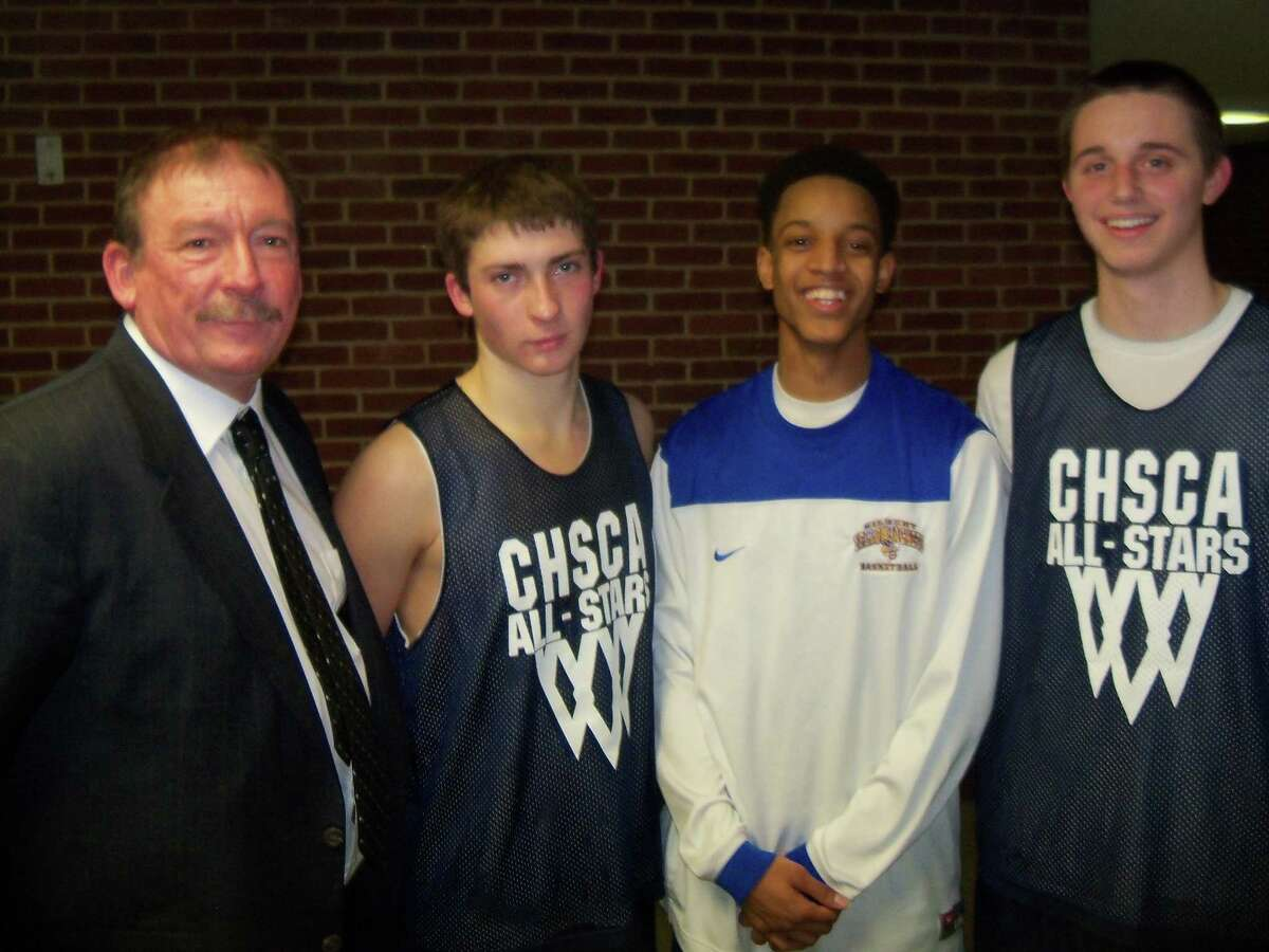 All-Star coach Dan Nemergut, Wamogo's Nick Nemergut, Gilbert's Robert Skinner and Northwestern's John Stevens played and coached like the all-stars they are at the CHSCA's Annual Senior All-Star Game at Maloney High School in Meriden Wednesday evening. Photo by Peter Wallace/Register Citizen