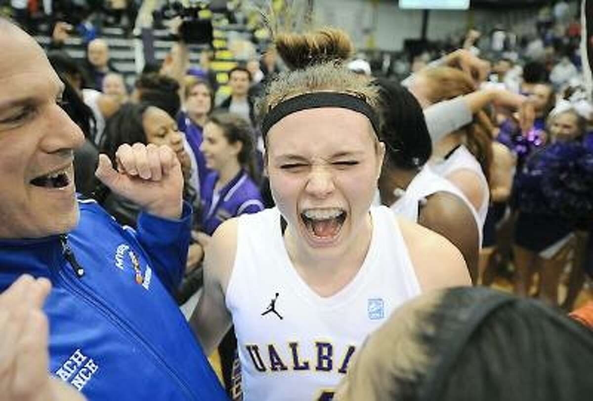 University of Albany guard Sarah Royals celebrates after defeating the University of Hartford in the American East title game 61-52. Submitted Photo/University at Albany Athletic Department