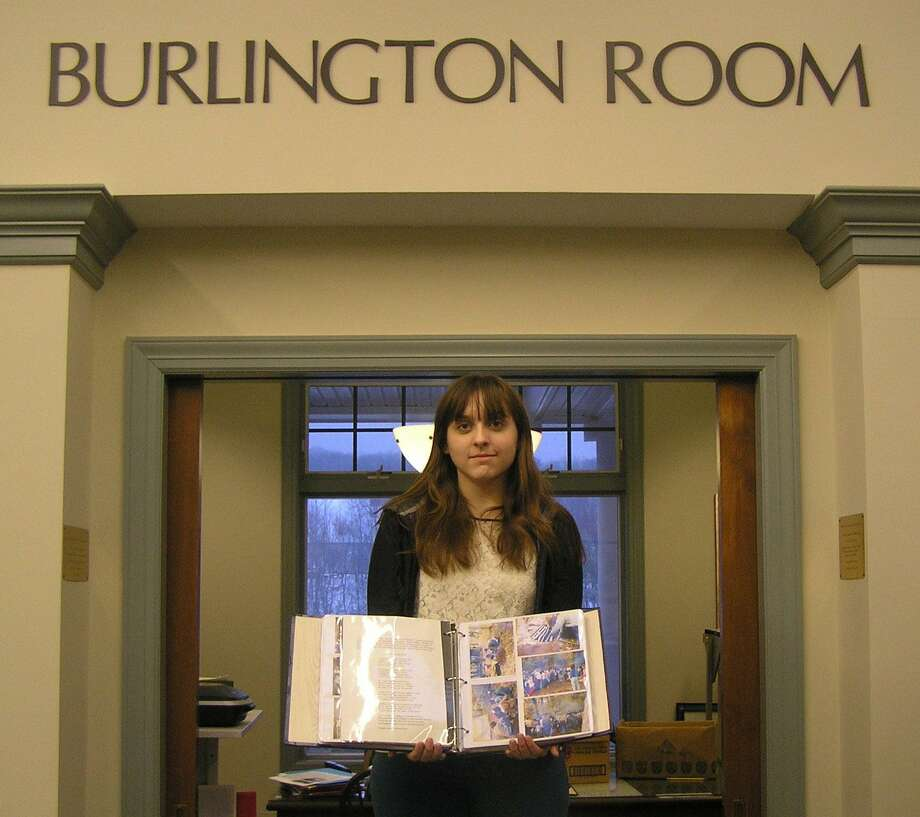 Submitted photo Michelle Jalbert shows the scrapbook project she completed for the Burlington Public Library on the town's role in the history of Girl Scouting.
