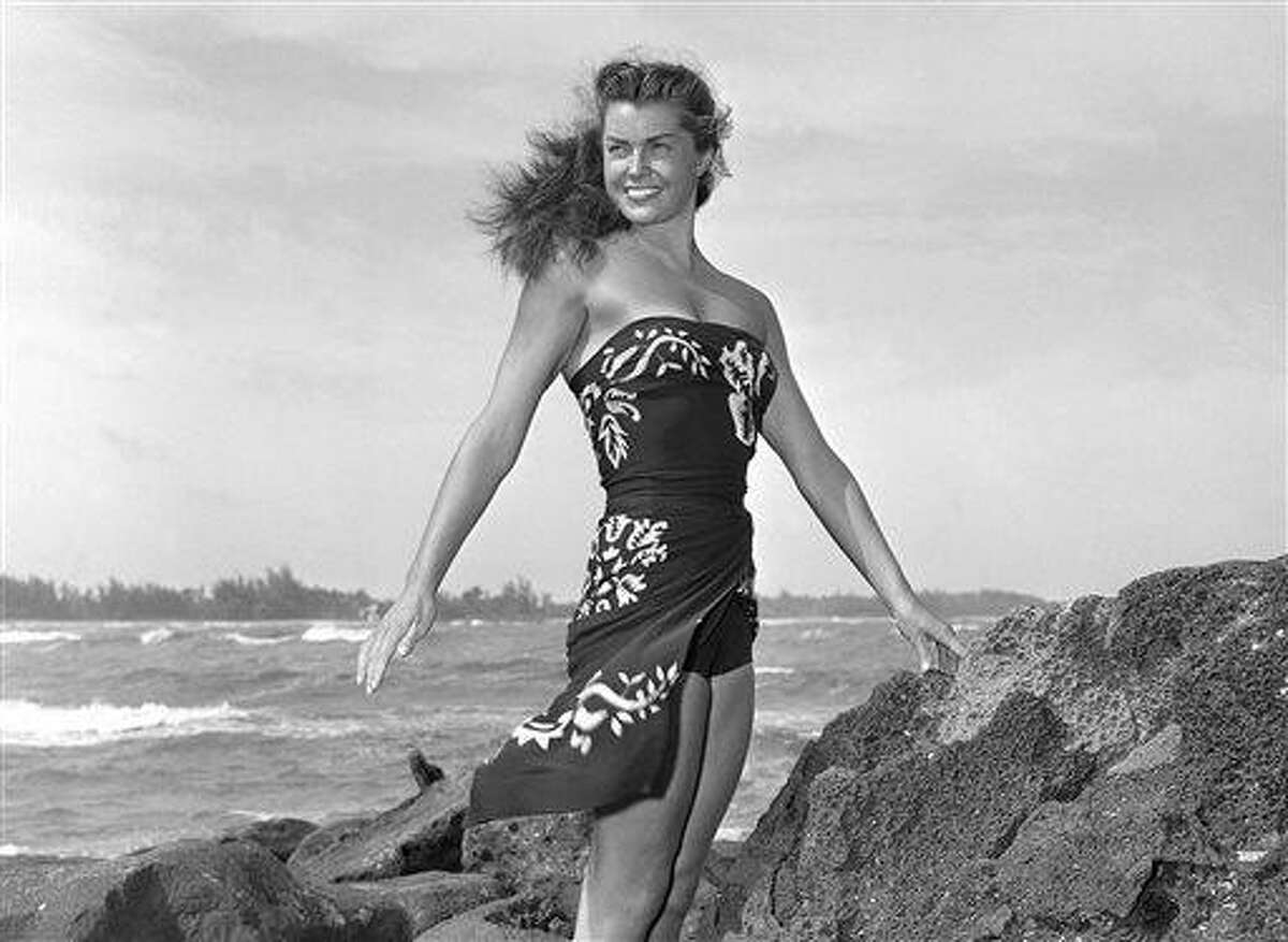 """FILE - This May 1950 file publicity photo originally released by Metro-Goldwyn-Mayer shows Esther Williams on location for the film """"Pagan Love Song. According to a press representative, Williams died in her sleep on Thursday, June 6, 2013, in Beverly Hills, Calif. She was 91. (AP Photo/Metro-Goldwyn-Mayer, file)"""