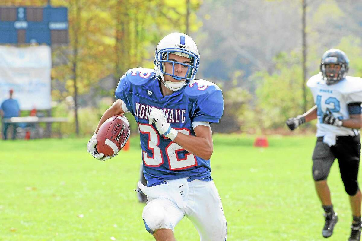 Nonnewaug's Nick Uberti rushed for 42-yards and a one touchdown in the Chiefs 26-20 loss.