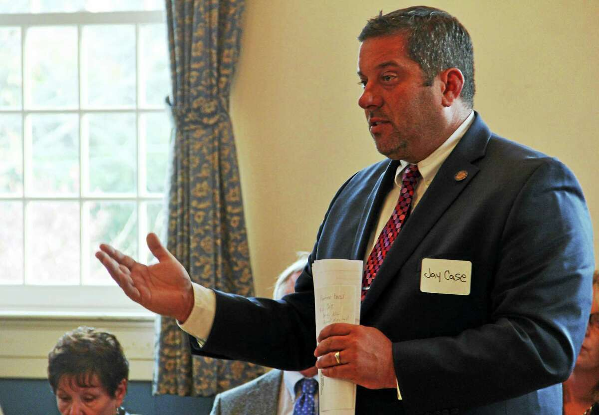 State Rep. Jay Case, R-63, answers a question at a Prime Time House legislative forum in Torrington Tuesday.