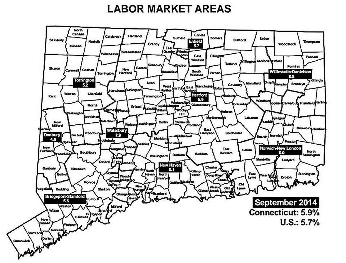 Connecticut Department of Labor Market graphic. Five of the six labor markets gained jobs in September.