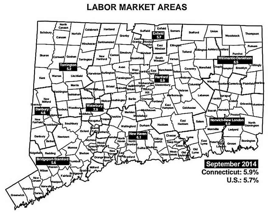 Connecticut Department of Labor Market graphic. Five of the six labor markets gained jobs in September. Photo: Journal Register Co.