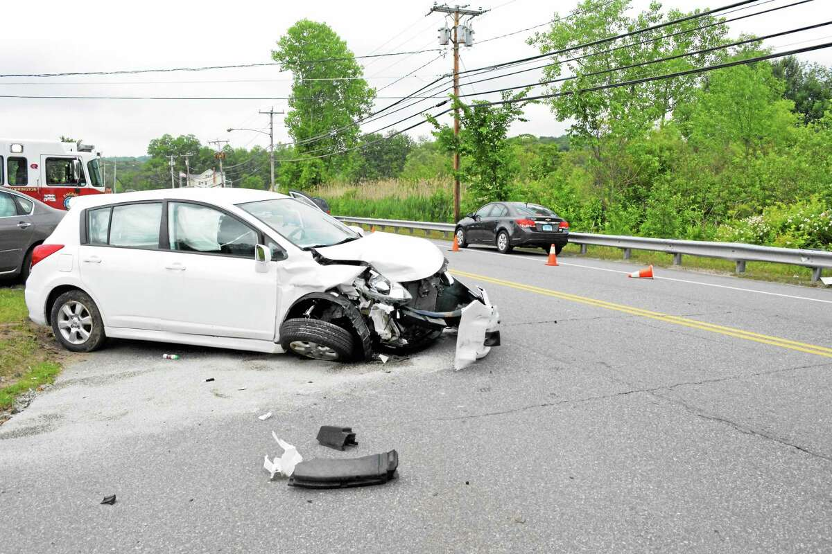 The damage that one vehicle sustained in the accident on Route 202 Wednesday morning. This vehicle was traveling in the opposite direction. The driver was transported to Charlotte Hungerford Hospital for minor injuries after all air bags in the vehicle went off.