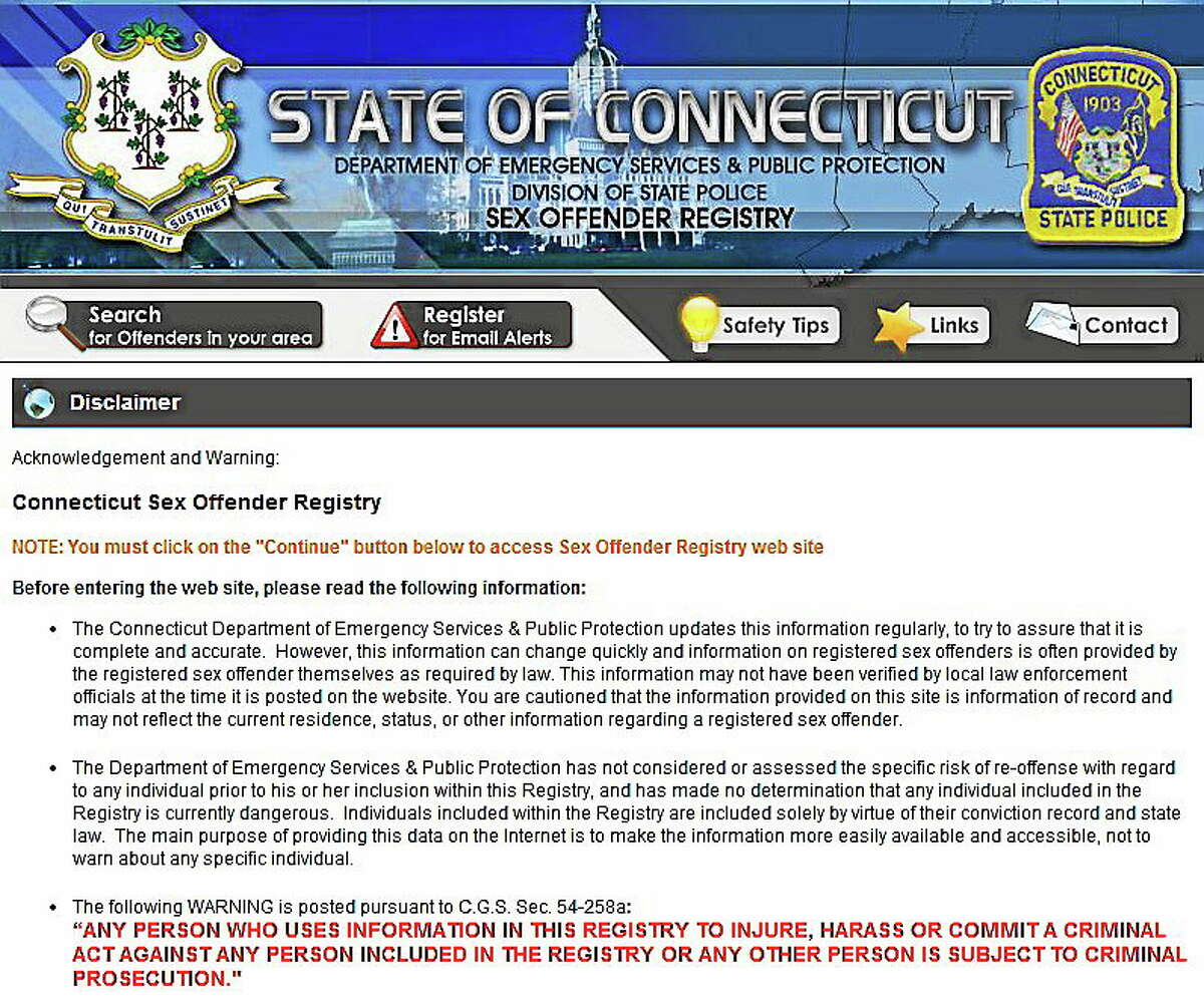 Screenshot of Connecticut Sex Offender Registry home page.