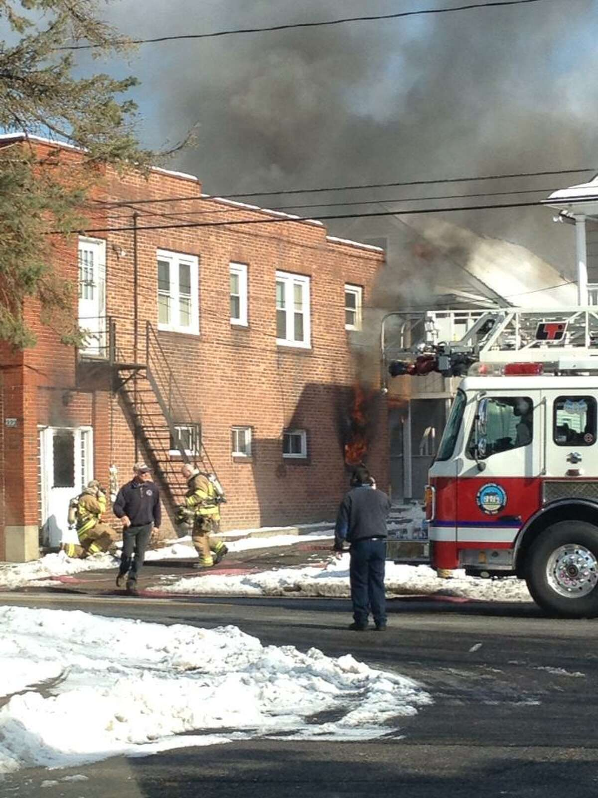A fire on North Elm Street in Torrington on Wednesday, March 20, 2013 left a family homeless. Photo contributed by Tracy Woodward.