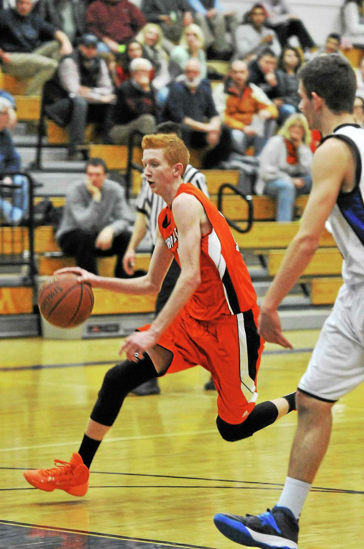 Terryville's Shea Tracy drives to the basket against Litchfield. Tracy finished the game with 18 points.