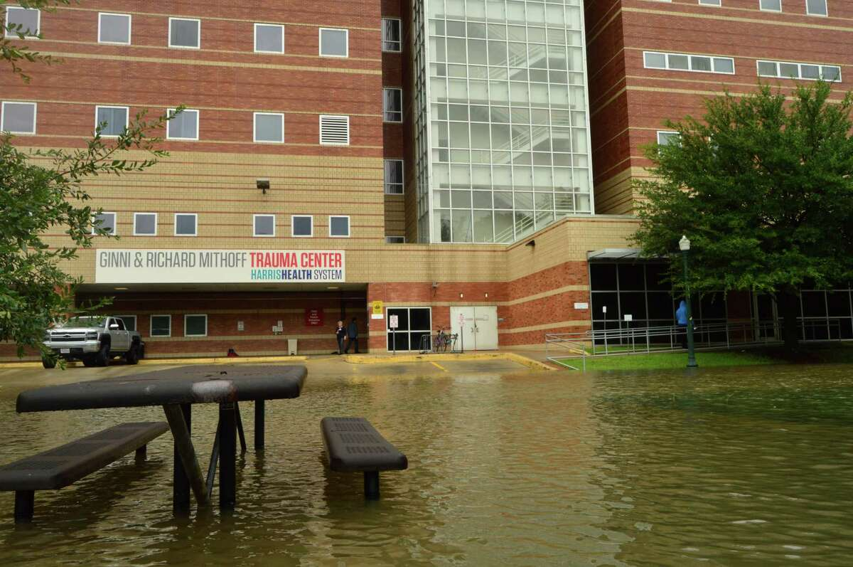 Floodwaters approach Houston's Ben Taub Hospital as workers prepare to evacuate patients due to Hurricane Harvey on Sunday, Aug. 27, 2017.