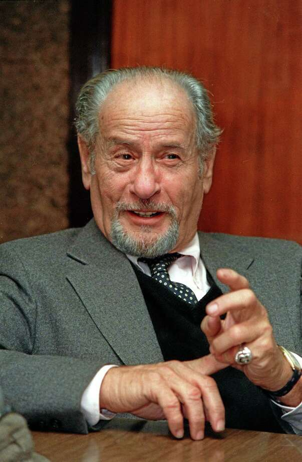 This Nov. 1987 file photo shows actor Eli Wallach speaking during an interview in New York.   Wallach, the raspy-voiced character actor who starred in dozens of movies and Broadway plays over a remarkable and enduring career, died Monday, June 23, 2014 of natural causes. He was 98. (AP Photo/Marty Lederhandler, File) Photo: AP / AP