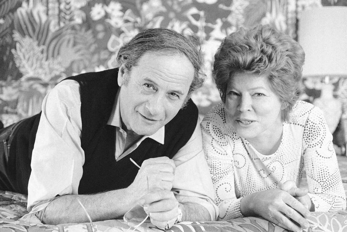 """This April 27, 1972 file photo shows actor Eli Wallach, left, and his wife Anne Jackson from the Broadway comedy """"Promenade All!"""" in New York. Wallach, the raspy-voiced character actor who starred in dozens of movies and Broadway plays over a remarkable and enduring career, died Monday, June 23, 2014 of natural causes. He was 98. (AP Photo/Jerry Mosey, File)"""