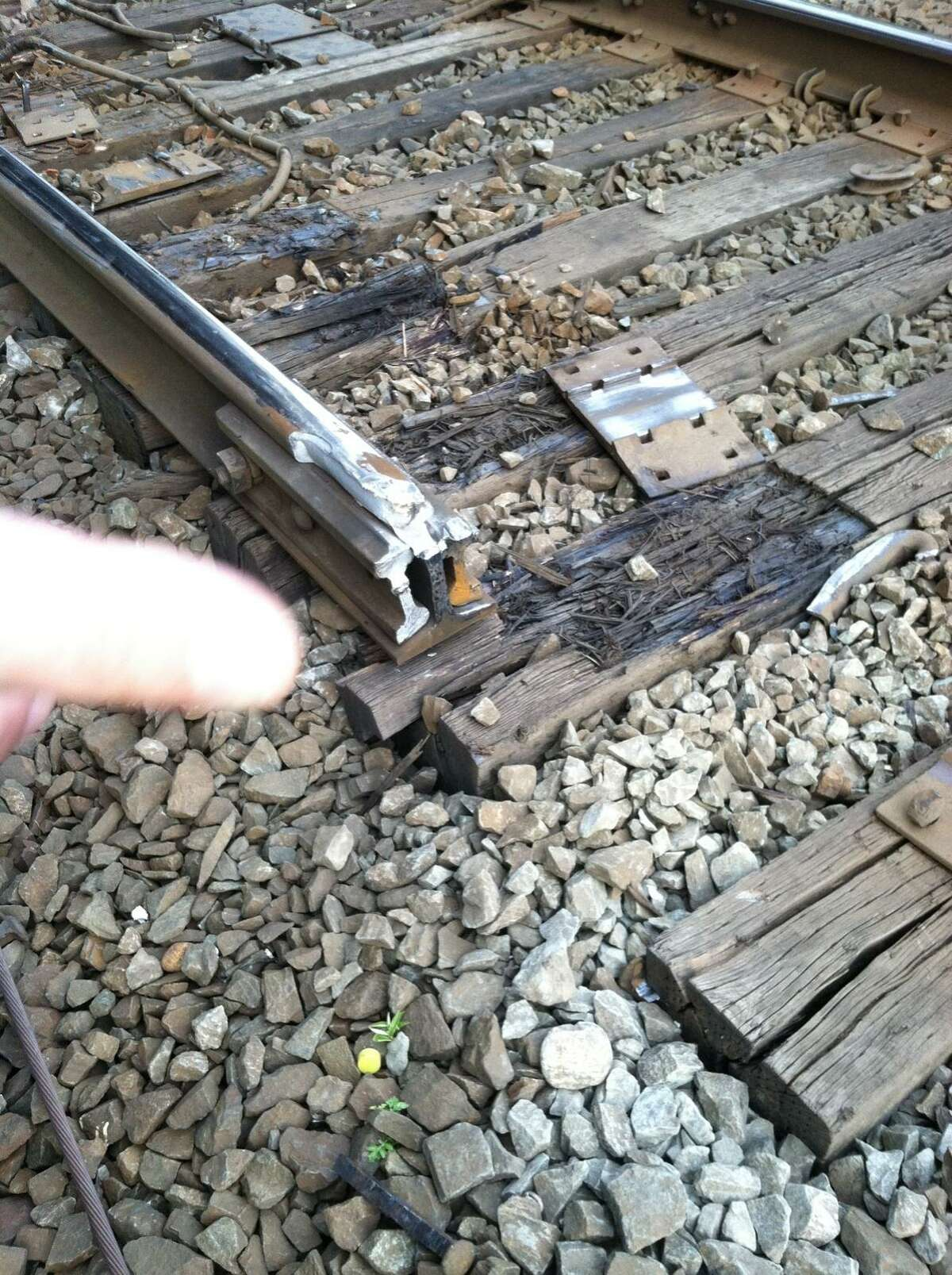 Photo courtesy of George Cahill. This photo shows the point where a train derailed on May 15. A section of track has been removed for a federal investigation.