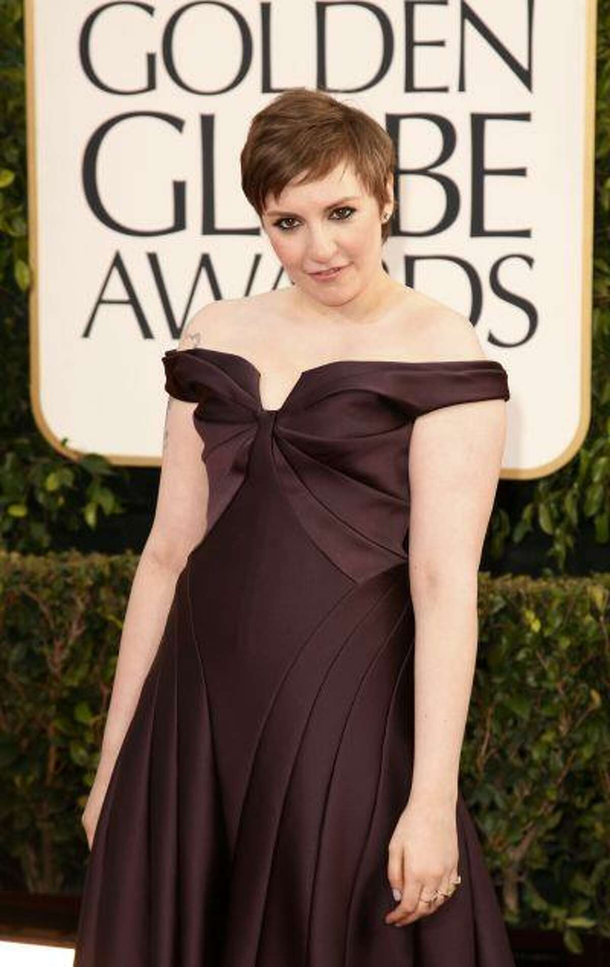 """Actress Lena Dunham of the TV series """"Girls"""" at the 70th annual Golden Globe Awards in Beverly Hills, Calif. (Reuters/Jason Redmond)"""